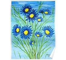 Blue Daisies  Poster