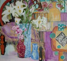 lilies and chair by Rosemary  Grant