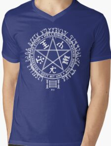 Anime - Hellsing Symbol (White)  Mens V-Neck T-Shirt