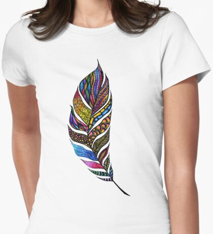 Colorful Watercolor Hand Drawn Tangle Feather Womens Fitted T-Shirt