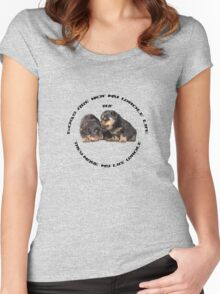 Dogs Make My Life Whole With Cute Rottweiler Puppies Women's Fitted Scoop T-Shirt