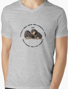 Dogs Make My Life Whole With Cute Rottweiler Puppies Mens V-Neck T-Shirt