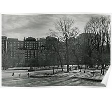 Winter in Boston Public Garden  Poster