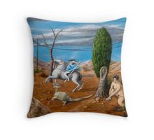 Duoscopic Self-Portrait as St. George Slaying a Cubist Dragon Throw Pillow