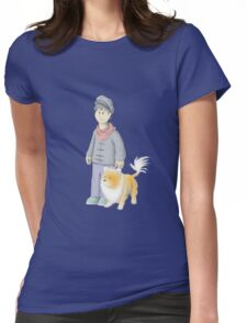 Boy with Pomeranian Lion Womens Fitted T-Shirt