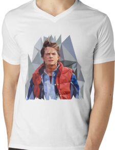Marty McFly Polygons Mens V-Neck T-Shirt