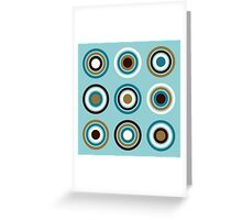 Circles in Rings Teals Gold Brown Cream Greeting Card