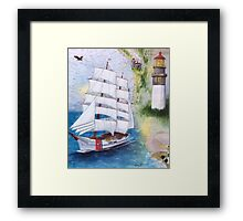 USCG Tall Ship EAGLE Nautical Cathy Peek Map Art Framed Print
