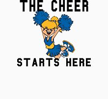 "Cheerleading ""The Cheer Starts Here"" Womens Fitted T-Shirt"