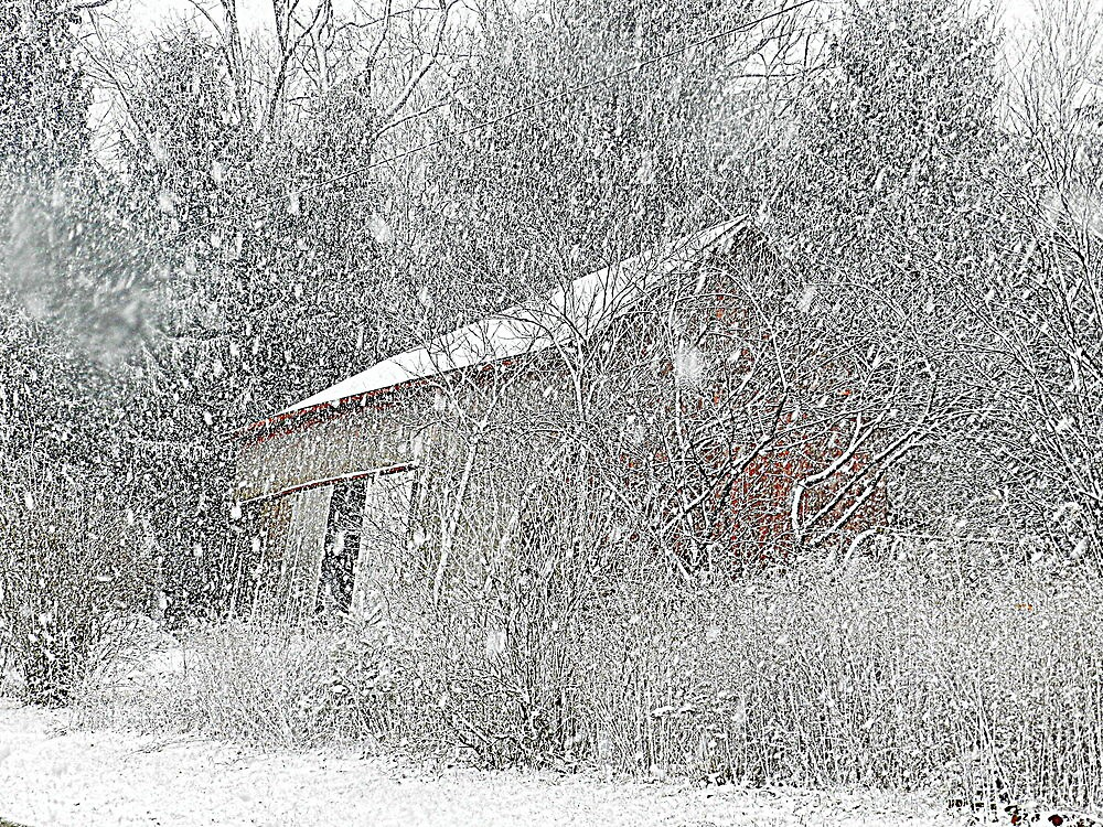The Leaning Red Barn in the Snow Storm by TrendleEllwood