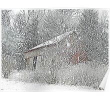 The Leaning Red Barn in the Snow Storm Poster