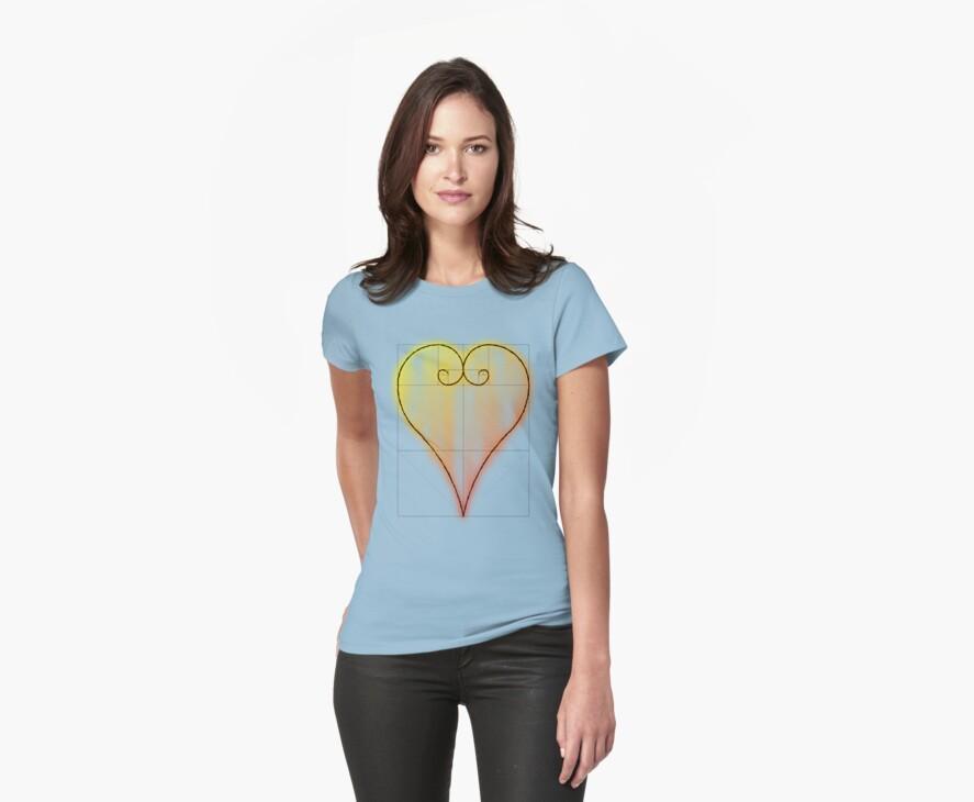 Fibonacci Valntine Heart - Tee Version by Technohippy