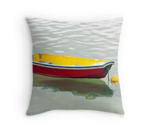 red dinghy Throw Pillow
