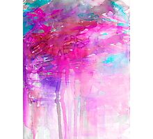 CARNIVAL DREAMS 1 Girly Bubblegum Pink Pastel Sky Whimsical Clouds Abstract Watercolor Painting Photographic Print