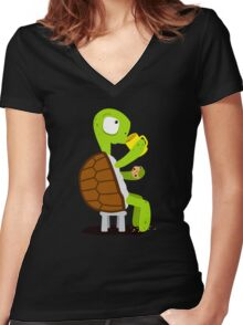 Turtle drinking tea Women's Fitted V-Neck T-Shirt
