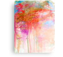 CARNIVAL DREAMS 2 Girly Tangerine Orange Peach Aqua Pastel Sky Whimsical Clouds Abstract Watercolor Painting Canvas Print