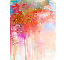 CARNIVAL DREAMS 2 Girly Tangerine Orange Peach Aqua Pastel Sky Whimsical Clouds Abstract Watercolor Painting Photographic Print