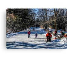 Family Day Along The River Edge Canvas Print