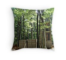 Mysterious Abandoned Structure In The Forest Throw Pillow