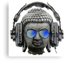 Cool Headphones Hip Hop Groove Buddha Banksy  Canvas Print