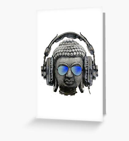 Cool Headphones Hip Hop Groove Buddha Banksy  Greeting Card