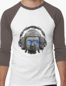 Cool Headphones Hip Hop Groove Buddha Banksy  Men's Baseball ¾ T-Shirt