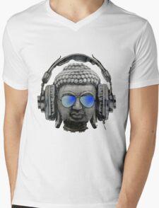 Cool Headphones Hip Hop Groove Buddha Banksy  Mens V-Neck T-Shirt