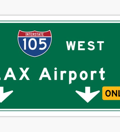Los Angeles Airport LAX, Road Sign, California Sticker