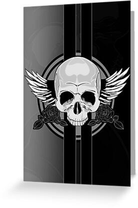 Wing Skull - BLACK & WHITE by Adamzworld
