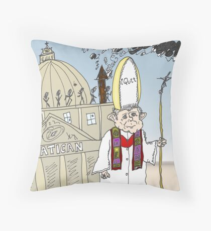 Pope Benedict XVI Quits Vatican cartoon Throw Pillow