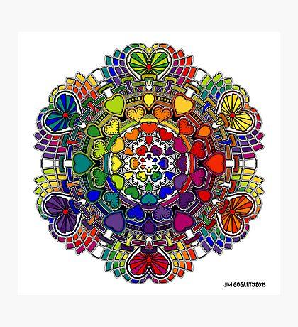 Rainbow Valentine Mandala Photographic Print