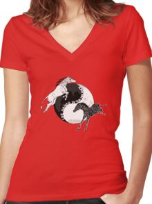 Yin Yan Horses Women's Fitted V-Neck T-Shirt