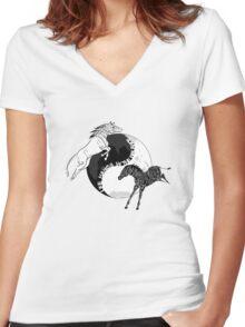Yin Yan Horses Women's Fitted V-Neck T-Shirt