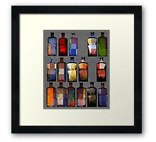 Abstract sixteen coloured bottles Framed Print