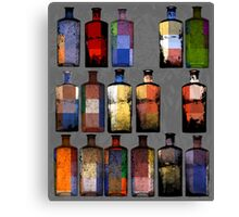 Abstract sixteen coloured bottles Canvas Print