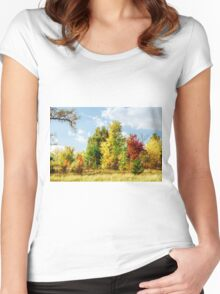 Walking in the autumn forest Women's Fitted Scoop T-Shirt