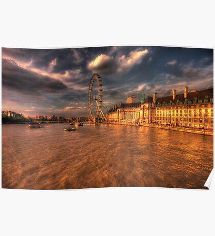 London Eye at Sunset Poster