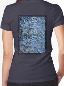 marbled paper - ink blue sea Women's Fitted V-Neck T-Shirt