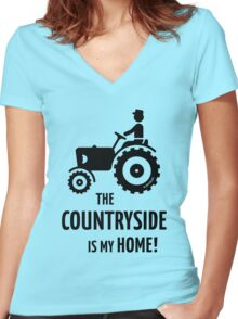 The Countryside Is My Home! (Farmer With Tractor) Women's Fitted V-Neck T-Shirt