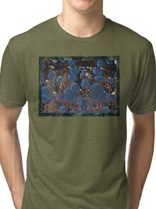 marbled paper - blue mushroom 2 layer Tri-blend T-Shirt
