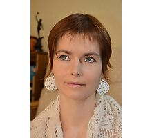 Girl With The Crocheted Earrings Photographic Print