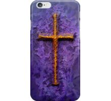 A gold Cross on a textured purple background. iPhone Case/Skin