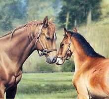 "Fine art equine painting ""Gentle kiss"" by barryjdavisart"