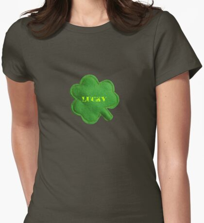 Saint Patrick's Day lucky green clover  Womens Fitted T-Shirt