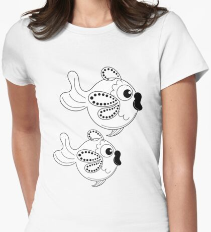 Cute Fish in Black and White Womens Fitted T-Shirt