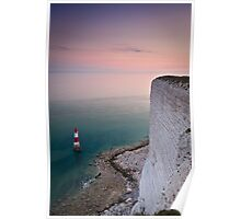 Beachy head lighthouse sunset Poster