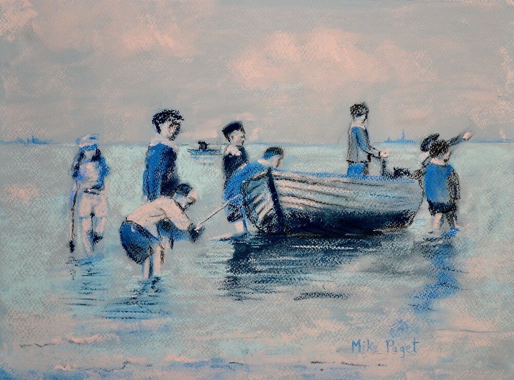 Off New Brighton Shore - 1890 by Mike Paget