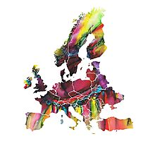 Europe Map eye Photographic Print