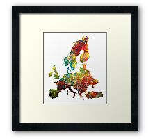 Map of the Europe Framed Print