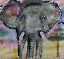 Elephant checking you out, watercolor by Anna  Lewis